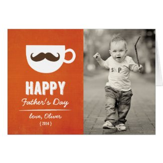 Cappuccino Mustache Photo Father's Day Card