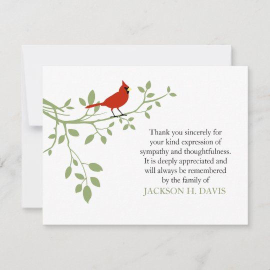 Cardinal Funeral Thank You Note Card Red Bird Zazzle