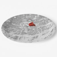 Cardinal in Winter Paper Plate   Zazzle