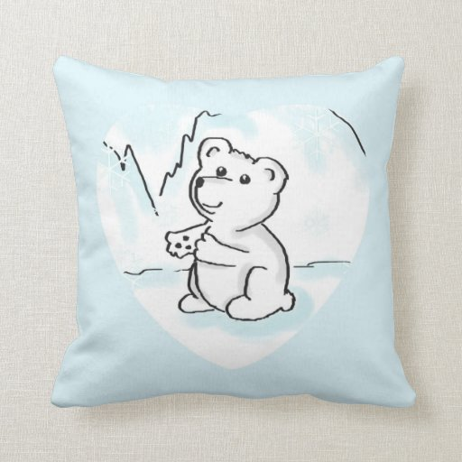 Cartoon Baby Polar Bear Needs A Hug Throw Pillow Zazzle
