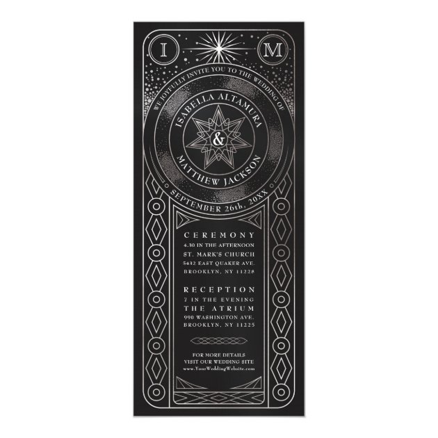 Celestial Union Wedding Invitiations Tall Silver
