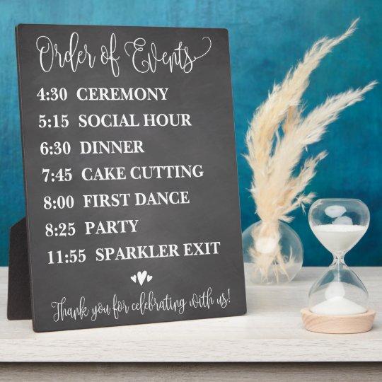 Chalk Order of Events Wedding Schedule Sign Plaque Zazzle