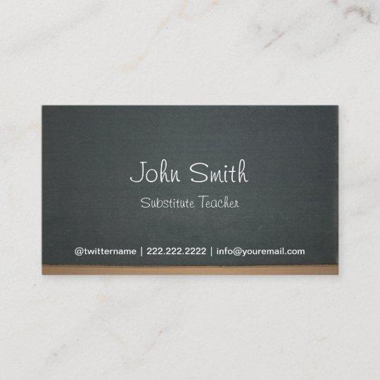 Chalkboard Substitute Teacher Simple Business Card Zazzle