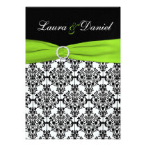 Chartreuse, White, Black Damask Wedding Invitation