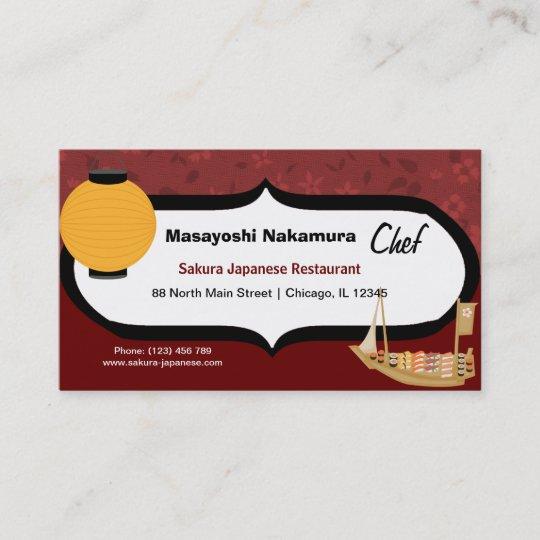 Chef Japanese Restaurant Business Card Zazzle