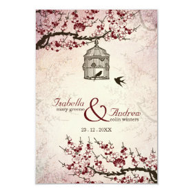 Cherry Blossom and love birds wedding invite