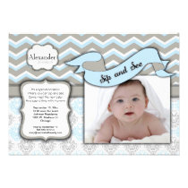 Chevron Sip And See New Baby Boy Photo Template Personalized Announcement