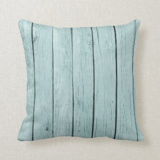 Chic Blue Rustic Wood Throw Pillow