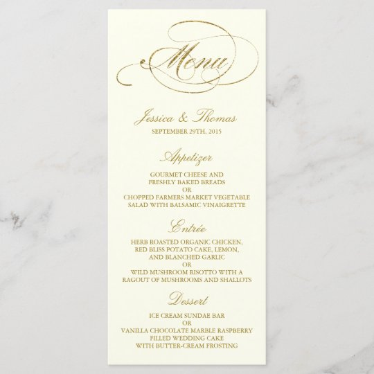 Chic Faux Gold Foil Wedding Menu Template - Ivory Zazzle