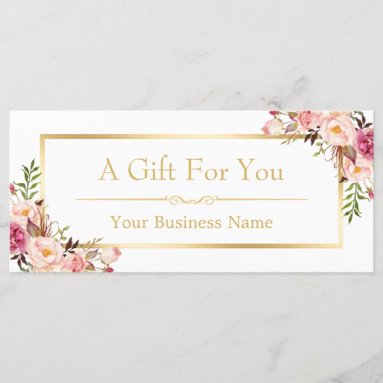 Chic Floral Gold Beauty Salon Gift Certificate Zazzle
