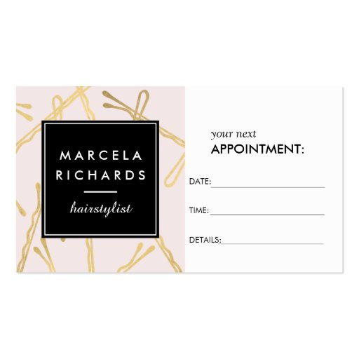 Chic Gold Bobby Pins Hairstylist Pink Appointment Business Card