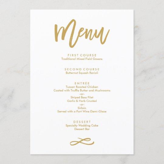 Chic Hand Lettered Gold Wedding Menu Zazzle