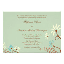 Chic soft teal + cream floral wedding invitation