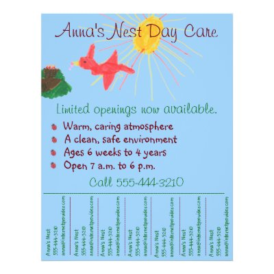 Child Care Day Care Babysitting Summer Camp 4x5 Flyer Zazzle - daycare flyer