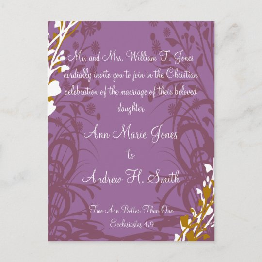 Christian Wedding Invitation Purple Elegance Zazzle