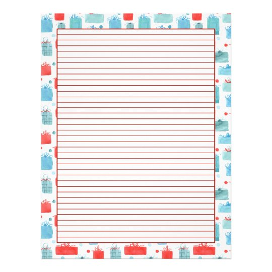 Christmas Gifts Holiday Letter Paper Lined Zazzle