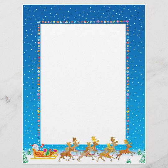 Christmas Letter Paper - Santa in Sleigh Design Zazzle