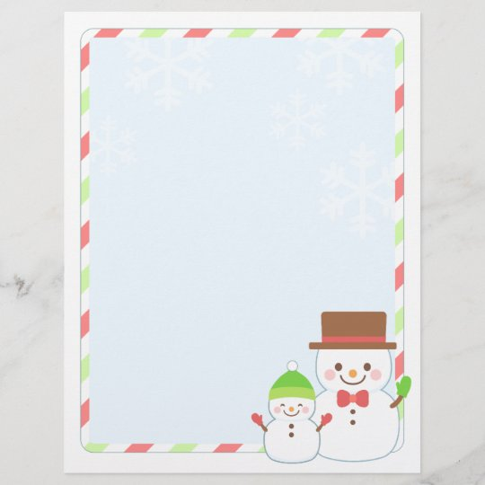 Christmas Letter Paper - Smiling Snowman Zazzle