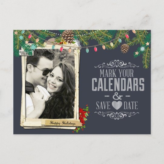 Christmas Wedding Chalkboard Save the Date Announcement Postcard