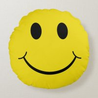 Classic 70's Smiley Happy Face Round Pillow | Zazzle