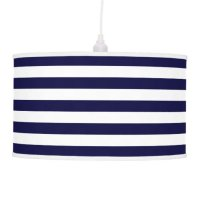 Classic Navy Blue and White Stripe Pattern Pendant Lamp ...