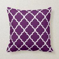 Classic Quatrefoil Pattern Plum and White Throw Pillow ...