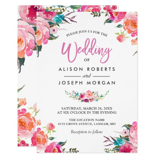 Classy Floral Blossom Watercolor Flowers Wedding ...