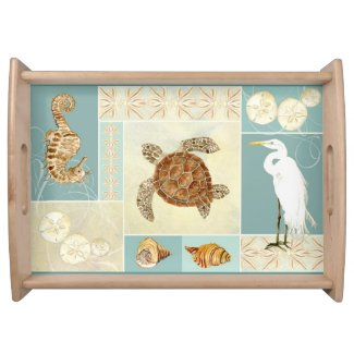Coastal Beach Ocean Seashore Collage Sea Turtle Serving Trays