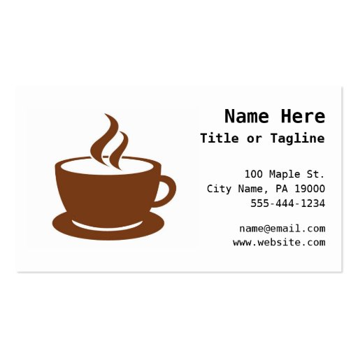Coffee Cup Cafe Business Card Templates