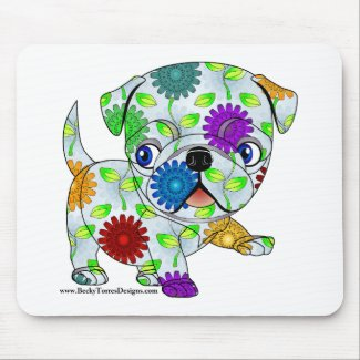Colored Pug Mouse Pad