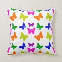 Colorful Bright Butterflies Throw Pillow | Zazzle