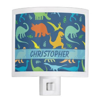Colorful Dinosaur Pattern to Personalize Night Lights