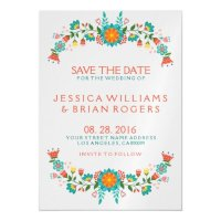 Colorful Retro Floral Frame Save the Date Magnetic Card ...