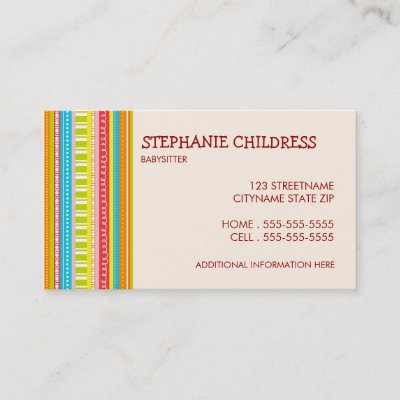 Colorful Stripes Babysitting Business Card Zazzle