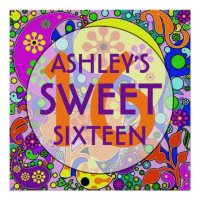 Colorful Sweet 16 Birthday Party Wall Decor Poster | Zazzle