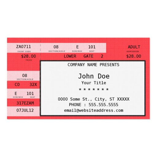 ... Concert Ticket Template Free   Concert Ticket Template Free ...