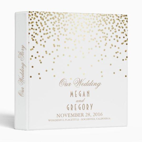 Confetti Gold Dots Elegant White Wedding Binder Zazzle