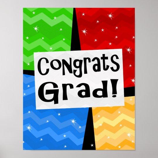 Congrats Grad Festive Multicolor Graduation Party Poster Zazzle