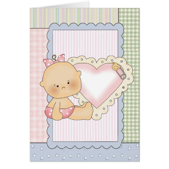 Congratulations Card Baby Girl With Heart Card Zazzle - baby girl congratulations card