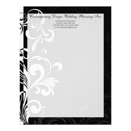 Contemporary Black and White Swirl Letterhead Zazzle