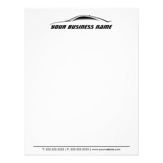 Cool Car Outline Auto Repair Business Letterhead Zazzle - business letterhead