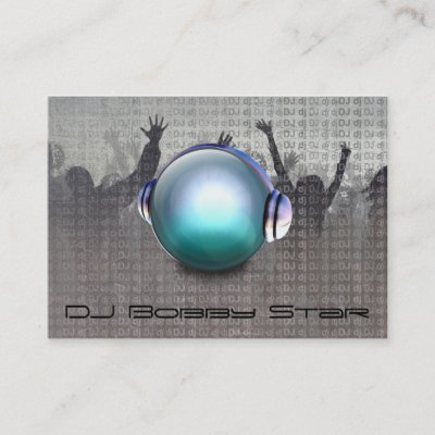 Party DJ business card with social icons updated Zazzle