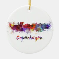Copenhagen skyline in watercolor Double-Sided ceramic round christmas ornament