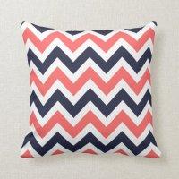 Coral and Navy Chevron Throw Pillow | Zazzle