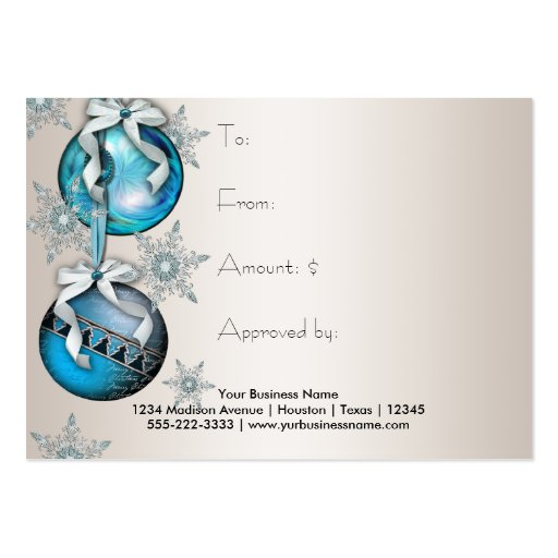 Corporate Holiday Gift Certificates Business Card Templates