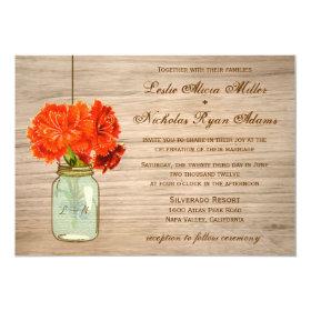 Country Rustic Mason Jar Flowers Wedding 5x7 Paper Invitation Card