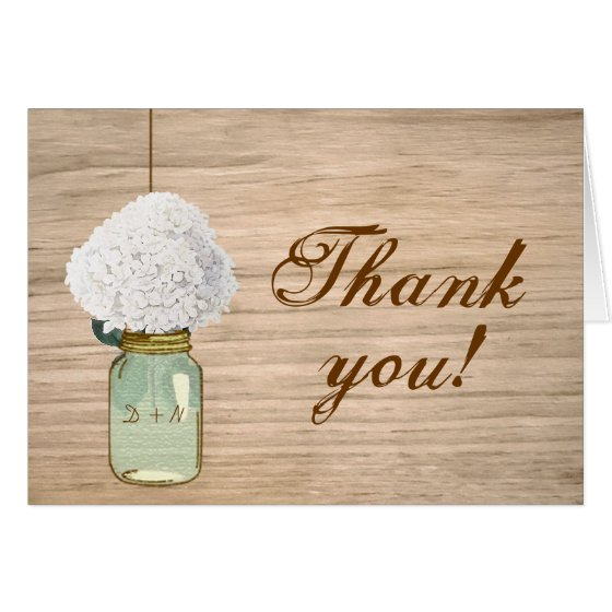 Country Rustic Mason Jar Hydrangea Thank You Card