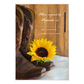 Country Sunflower Western Wedding RSVP Response 3.5x5 Paper Invitation Card