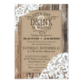 Country Western Wood Lace Rustic Wedding 5x7 Paper Invitation Card