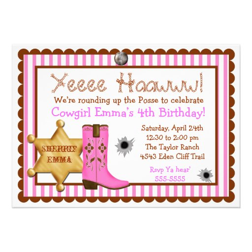 Personalized Cowgirl Birthday Invitations